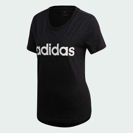 【公式】アディダス adidas エッセンシャルズ リニア Tシャツ [Essentials Linear Tee] レディース ウェア トップス Tシャツ 黒 ブラック DP2361 半袖