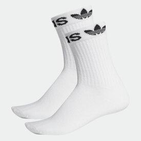 【公式】アディダス adidas リニア カフ クルーソックス 2足組み [Linear Cuff Crew Socks 2 Pairs] オリジナルス レディース メンズ アクセサリー ソックス クルーソックス 白 ホワイト ED8730