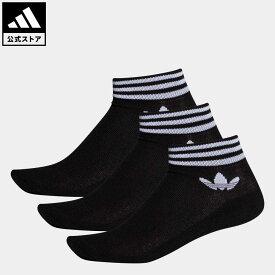 【公式】アディダス adidas 返品可 トレフォイル アンクルソックス 3足組み [TREFOIL ANKLE SOCKS 3 PAIRS] オリジナルス レディース メンズ アクセサリー ソックス・靴下 アンクルソックス 黒 ブラック EE1151