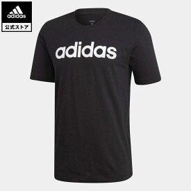 【公式】アディダス adidas 返品可 エッセンシャルズ リニアロゴ 半袖Tシャツ / Essentials Linear Logo Tee メンズ ウェア・服 トップス Tシャツ 黒 ブラック DU0404 半袖