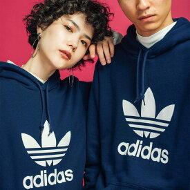 【公式】アディダス adidas TREFOIL HOODIE オリジナルス レディース メンズ ウェア トップス パーカー スウェット 青 ブルー EJ9682 トレーナー
