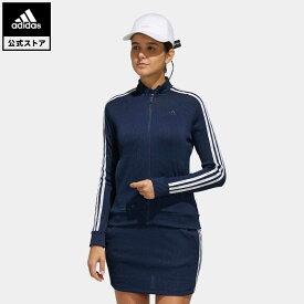 【公式】アディダス adidas ゴルフ スリーストライプス 長袖フルジップジャケット【ゴルフ】 レディース ウェア アウター ジャケット 青 ブルー FJ2442