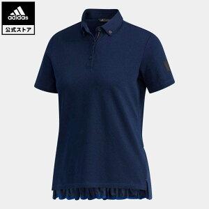 【公式】アディダス adidas ゴルフ ADICROSS プリーツヘム 半袖ボタンダウンシャツ【ゴルフ】 レディース ウェア トップス ポロシャツ 青 ブルー FJ4355