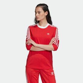 【公式】アディダス adidas 3ストライプ 長袖Tシャツ オリジナルス レディース ウェア トップス Tシャツ 赤 レッド FM3294 ロンt