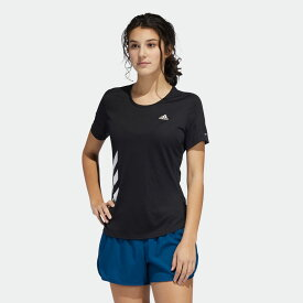 【公式】アディダス adidas ランニング ラン イット 3ストライプス ファスト 半袖Tシャツ / Run It 3-Stripes Fast Tee レディース ウェア トップス Tシャツ 黒 ブラック FR8400 ランニングウェア 半袖