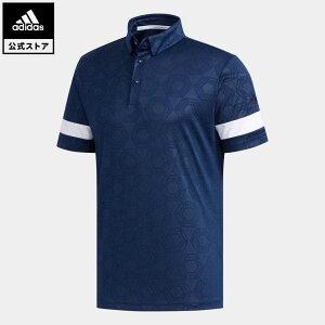 【公式】アディダス adidas ゴルフ ヘキサゴンエンボスプリント 半袖ボタンダウンシャツ メンズ ウェア トップス ポロシャツ 青 ブルー FJ3835