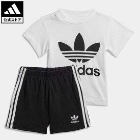 【公式】アディダス adidas 返品可 子供用トレフォイル ショーツ Tシャツ セット [Trefoil Shorts Tee Set] オリジナルス キッズ ウェア・服 その他ウェア 白 ホワイト FI8318