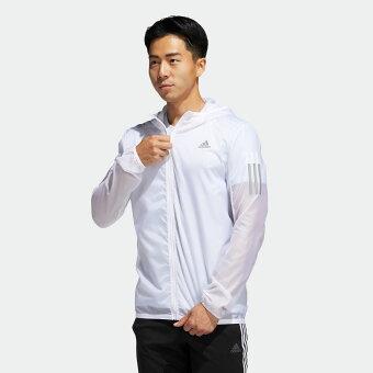 【公式】アディダス adidas ランニング RESPONSEフード付シースルージャケットM メンズ ウェア アウター ジャケット 白 ホワイト FM6918 ランニングウェア