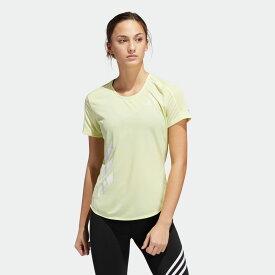【公式】アディダス adidas ランニング ラン イット 3ストライプス ファスト 半袖Tシャツ / Run It 3-Stripes Fast Tee レディース ウェア トップス Tシャツ イエロー FR8385 ランニングウェア 半袖