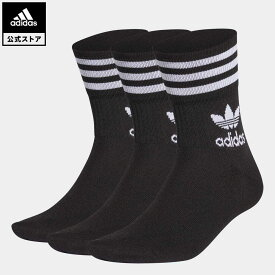 【公式】アディダス adidas 返品可 ミッドカット クルーソックス 3足組 オリジナルス レディース メンズ アクセサリー ソックス・靴下 クルーソックス 黒 ブラック GD3576