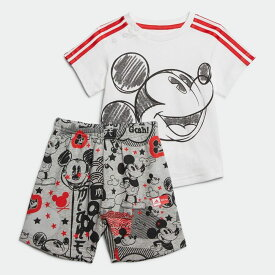【公式】アディダス adidas ジム・トレーニング ディズニー / ミッキーマウス サマーセット / Mickey Mouse Summer Set キッズ ウェア セットアップ 白 ホワイト GD3724 上下 p1030