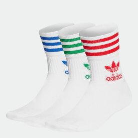 【公式】アディダス adidas ミッドカット クルーソックス 3足組 オリジナルス レディース メンズ アクセサリー ソックス クルーソックス 白 ホワイト GG1015