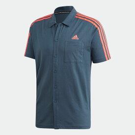 【公式】アディダス adidas ID ボタンシャツ / ID Button Shirt アスレティクス メンズ ウェア トップス Tシャツ 青 ブルー GP9739 半袖