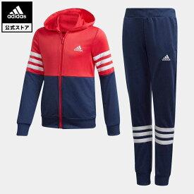 【公式】アディダス adidas 返品可 ジム・トレーニング 子供用 フード付きトラックスーツ [Hooded Track Suit] キッズ ウェア セットアップ ジャージ ピンク FM6415 上下