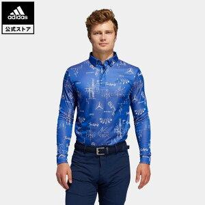 【公式】アディダス adidas ゴルフ ヒストリカルパターン 長袖ボタンダウンシャツ 【ゴルフ】/ Allover Print Long Sleeve Polo Shirt メンズ ウェア トップス ポロシャツ 青 ブルー FS6873 p1023