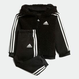 【公式】アディダス adidas ジム・トレーニング ファー フルジップ フード付きジョガーセット / Fur Full-Zip Hooded Jogger Set キッズ ウェア セットアップ 黒 ブラック GD3918 上下 p1030