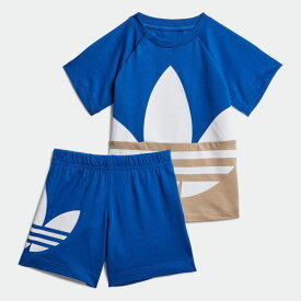 【公式】アディダス adidas ラージ トレフォイル ショーツ & Tシャツセット オリジナルス キッズ ウェア その他ウェア 青 ブルー GE1971