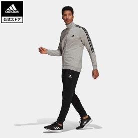 【公式】アディダス adidas AEROREADY エッセンシャルズ 3ストライプス トラックスーツ / AEROREADY Essentials 3-Stripes Track Suit メンズ ウェア セットアップ ジャージ グレー GK9975 上下