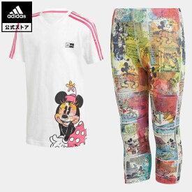 【公式】アディダス adidas ジム・トレーニング ディズニー / ミニーマウス サマーセット / Minnie Mouse Summer Set キッズ ウェア セットアップ 白 ホワイト GM6921 上下
