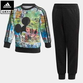 【公式】アディダス adidas 返品可 ジム・トレーニング ディズニー ミッキーマウス ジョガーセット / Disney Mickey Mouse Jogger Set キッズ ウェア セットアップ 黒 ブラック GM6929 eoss21ss 上下