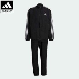 【公式】アディダス adidas AEROREADY エッセンシャルズ レギュラーフィット 3ストライプス トラックスーツ / メンズ ウェア セットアップ ジャージ 黒 ブラック GK9950 上下
