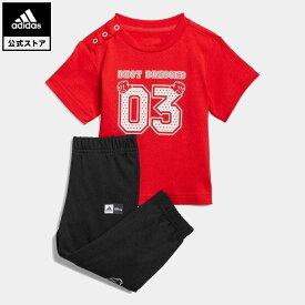 【公式】アディダス adidas アディダス × ディズニー Tシャツ&パンツ キッズ ウェア セットアップ 赤 レッド GN4933 上下
