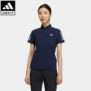【公式】アディダス adidas 返品可 ゴルフ スリーストライプス 半袖ストレッチボタンダウンシャツ / Polo Shirt レディース ウェア トップス ポロシャツ 青 ブルー GM3742 mothersday2021 notp