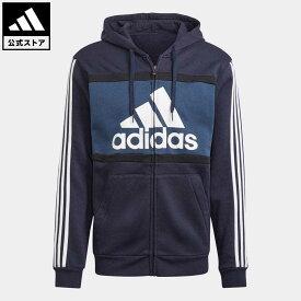 【公式】アディダス adidas 返品可 エッセンシャルズ カラーブロック ロゴ パーカー / Essentials Colorblock Logo Hoodie メンズ ウェア・服 トップス パーカー(フーディー) ジャージ 青 ブルー GP4312 トレーナー