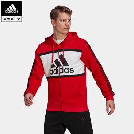 【公式】アディダス adidas 返品可 エッセンシャルズ カラーブロック ロゴ パーカー / Essentials Colorblock Logo Hoodie メンズ ウェア・服 トップス パーカー(フーディー) ジャージ 赤 レッド GP4313 トレーナー
