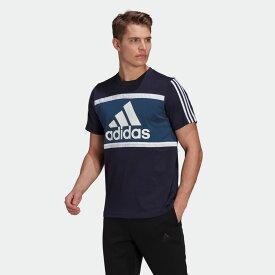 全品送料無料! 03/04 20:00〜03/11 09:59 【公式】アディダス adidas エッセンシャルズ ロゴ カラーブロック Tシャツ / Essentials Logo Colorblock Tee メンズ ウェア トップス Tシャツ 青 ブルー GV0255 半袖 p0304