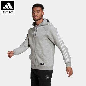【公式】アディダス adidas アディダス スポーツウェア 3ストライプス フード付きトラックトップ / adidas Sportswear 3-Stripes Hooded Track Top アスレティクス メンズ ウェア トップス パーカー(フーディー) ジャージ グレー GL5679 トレーナー