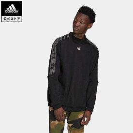 【公式】アディダス adidas 返品可 SPRT アウトライン 3ストライプ クルースウェット オリジナルス メンズ ウェア・服 トップス スウェット(トレーナー) 黒 ブラック GN2442