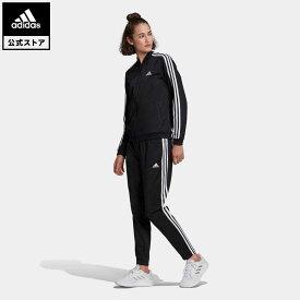 【公式】アディダス adidas エッセンシャルズ 3ストライプス トラックスーツ / Essentials 3-Stripes Track Suit レディース ウェア セットアップ ジャージ 黒 ブラック GM5534 上下