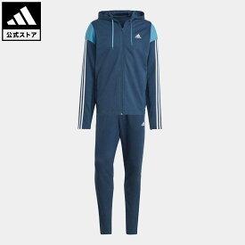 【公式】アディダス adidas 返品可 アディダス スポーツウェア リブインサート トラックスーツ / adidas Sportswear Ribbed Insert Track Suit アスレティクス メンズ ウェア・服 セットアップ ジャージ 青 ブルー GM5798 上下