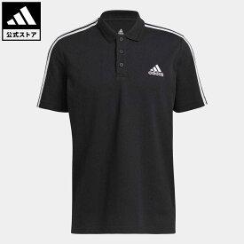 【公式】アディダス adidas 返品可 M ESS 3ストライプス PQ ポロシャツ メンズ ウェア トップス ポロシャツ 黒 ブラック GK9097