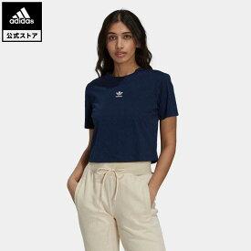 【公式】アディダス adidas 返品可 テニス リュクス クロップドTシャツ オリジナルス レディース ウェア・服 トップス クロップドトップス 青 ブルー H56454