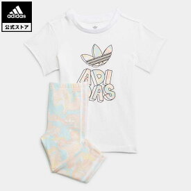 【公式】アディダス adidas 返品可 マーブルプリント Tシャツワンピースとタイツのセット オリジナルス キッズ ウェア・服 セットアップ ジャージ 白 ホワイト H22631 上下
