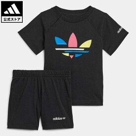 【公式】アディダス adidas 返品可 アディカラー ショーツ & Tシャツ セットアップ オリジナルス キッズ ウェア・服 セットアップ 黒 ブラック H25226 上下