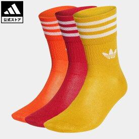 【公式】アディダス adidas 返品可 ミッドカットクルーソックス 3足組 オリジナルス レディース メンズ アクセサリー ソックス・靴下 クルーソックス 赤 レッド HG5687