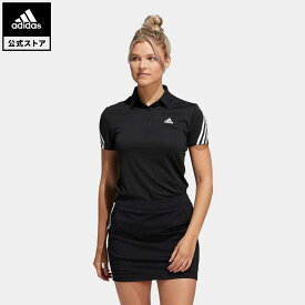 【公式】アディダス adidas 返品可 ゴルフ HEAT.RDY スリーストライプス半袖ボタンダウンシャツ レディース ウェア・服 トップス ポロシャツ 黒 ブラック GU8757