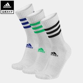 【公式】アディダス adidas 返品可 ジム・トレーニング スリーストライプス クッション クルー ソックス 3足組 レディース メンズ アクセサリー ソックス・靴下 クルーソックス 白 ホワイト H27755