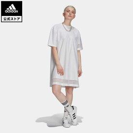 【公式】アディダス adidas 返品可 Tシャツワンピース オリジナルス レディース ウェア・服 オールインワン ワンピース 白 ホワイト GN3248
