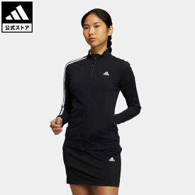 【公式】アディダス adidas 返品可 ゴルフ プライムブルー スリーストライプス 長袖ストレッチトラックジャケット レディース ウェア・服 アウター ジャケット 黒 ブラック GV1232