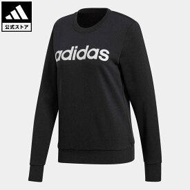 【公式】アディダス adidas 返品可 エッセンシャルズ リニア スウェットシャツ / Essentials Linear Sweatshirt レディース ウェア・服 トップス スウェット(トレーナー) 黒 ブラック DP2363
