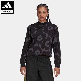 【公式】アディダス adidas 返品可 マリメッコ 総柄プリント スウェット オリジナルス レディース ウェア・服 トップス スウェット(トレーナー) 黒 ブラック H20189
