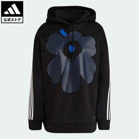 【公式】アディダス adidas 返品可 アディダス スポーツウェア マリメッコ フリース フーデッドスウェットシャツ アスレティクス レディース ウェア・服 トップス パーカー(フーディー) スウェット(トレーナー) 黒 ブラック H39738 トレーナー