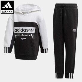【公式】アディダス adidas 返品可 パーカー 上下セット オリジナルス キッズ ウェア・服 セットアップ ジャージ 黒 ブラック FM7603 上下