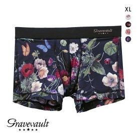【送料無料】 (グレイブボールト)Gravevault フローラプリント ショートボクサーパンツ XL メンズ ADIEU [ 大きいサイズ LL ]