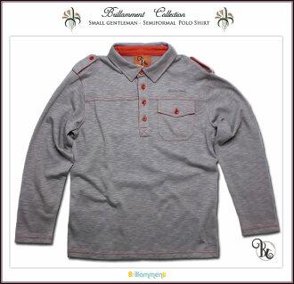 王子运动休闲服饰刺绣长袖马球衬衫 (JPBt) 是高档和闪耀在正规的幼儿服装男孩孩子初中院长 120 厘米 130 140 厘米