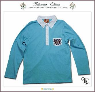 王子运动休闲服饰绣花长袖马球衬衫 (JPBt),照正式意义上的专属孩子衣服男孩初中院长 150 厘米 160 厘米 170 厘米